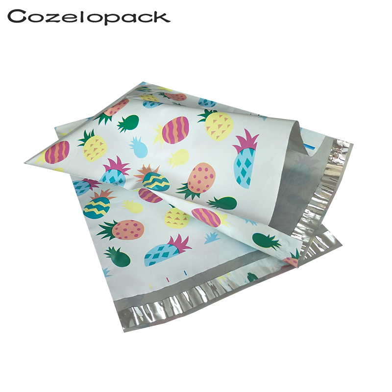 100PCS 10x13inch Poly Mailer 26x33cm Pineapple Printed Poly Mailer Self Seal Plastic Mailing Envelope Courier Post Storage Bags