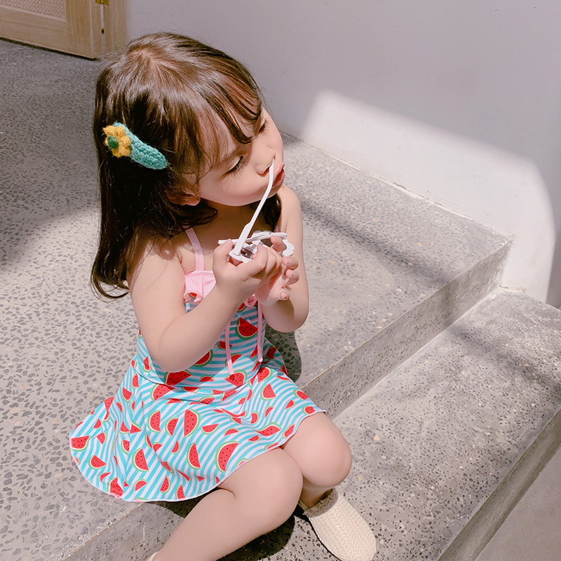 2019 New Style Korean-style Girls Cute One-piece Swimming Suit Sweet Bow One Piece Children Swimming Suit