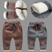 Bibicola Мальчики Штаны новая зимняя детская Утеплённые штаны для маленьких мальчиков повседневные теплые детские джинсы с кашемиром бархатные брюки для маленьких мальчиков; одежда; леггинсы