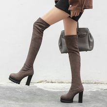 Slim Over The Knee Boots Women Microfiber Platform Square Heel Thigh High Boots Stretch Winter Boots Ladies Long Booties MAZIAO(China)
