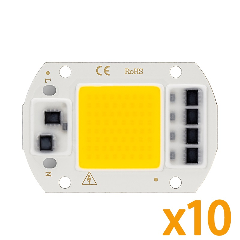 10PCS/Lot Full Spectrum LED Light Chip 20W 30W 50W Warm White Cold White Grow Light 220V Smart IC For Greenhouse Floodlight DIY