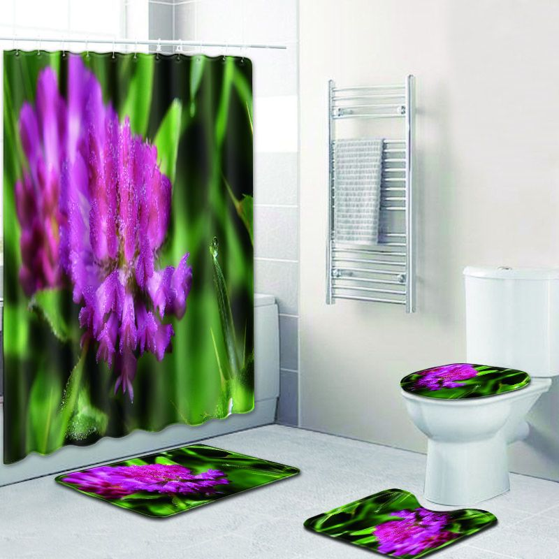 Motif de fleurs de campagne tissu Polyester imperméable lavable moderne rideau de bain écran couverture de siège de toilette tapis de bain anti-dérapant