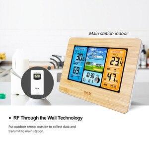 Image 5 - FanJu FJ3373 קיר שולחן שעון מעורר תחנת מזג דיגיטלי מדחום מדדי לחות חיישן אלחוטי תחזית טמפרטורת שעון