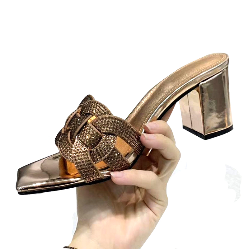 Bling Bling Beading Chunky High Heel Designer Sandals Women 2020 New Arrival Summer Slippers Red Black Gold Leather Shoes Women
