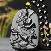 Hand-Carved Guan Yu Natural Black Obsidian Jade Pendant Necklace Chinese Fashion Jewelry Charm Amulet Accessories for Men Gifts natural black obsidian pixiu safety buckle jade pendant necklace hand carved fashion charm jewelry amulet for men women gifts
