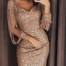 2019 New arrival Women Tassels Gold Sliver Sequined Bandage Evening Party