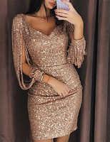 2019 New arrival Women Tassels Gold Sliver Sequined Bandage Evening Party Dress Summer V Neck Club Wear Package Hip Dress