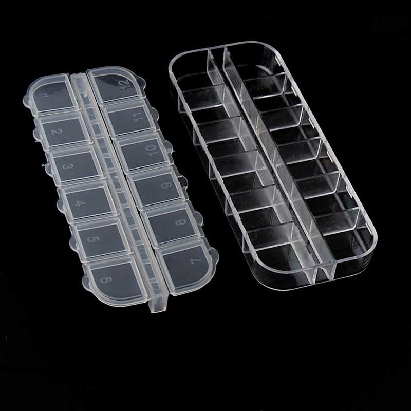 12 Grids Durable Plastic Adjustable Transparent Cover Jewelry Small Component Box Nail Art Tip box Dressing table storage