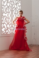 free shipping bridal gowns long dress 2013 new design hot sale custom size/color chinese red one shoulder Bridesmaid Dresses
