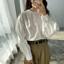 Primavera estilo de rua casual lanterna manga blusa camisas femininas temperamento senhora o pescoço algodão branco topos designer roupas chiques