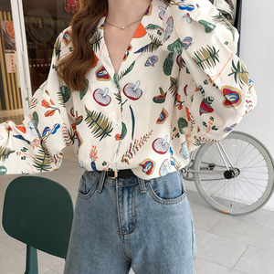 2020 Pring Fruit And Vegetable Print Blouse Women Chic Notched Blouse And Women Shirts Chiffon Casual Button Up Shirts Women