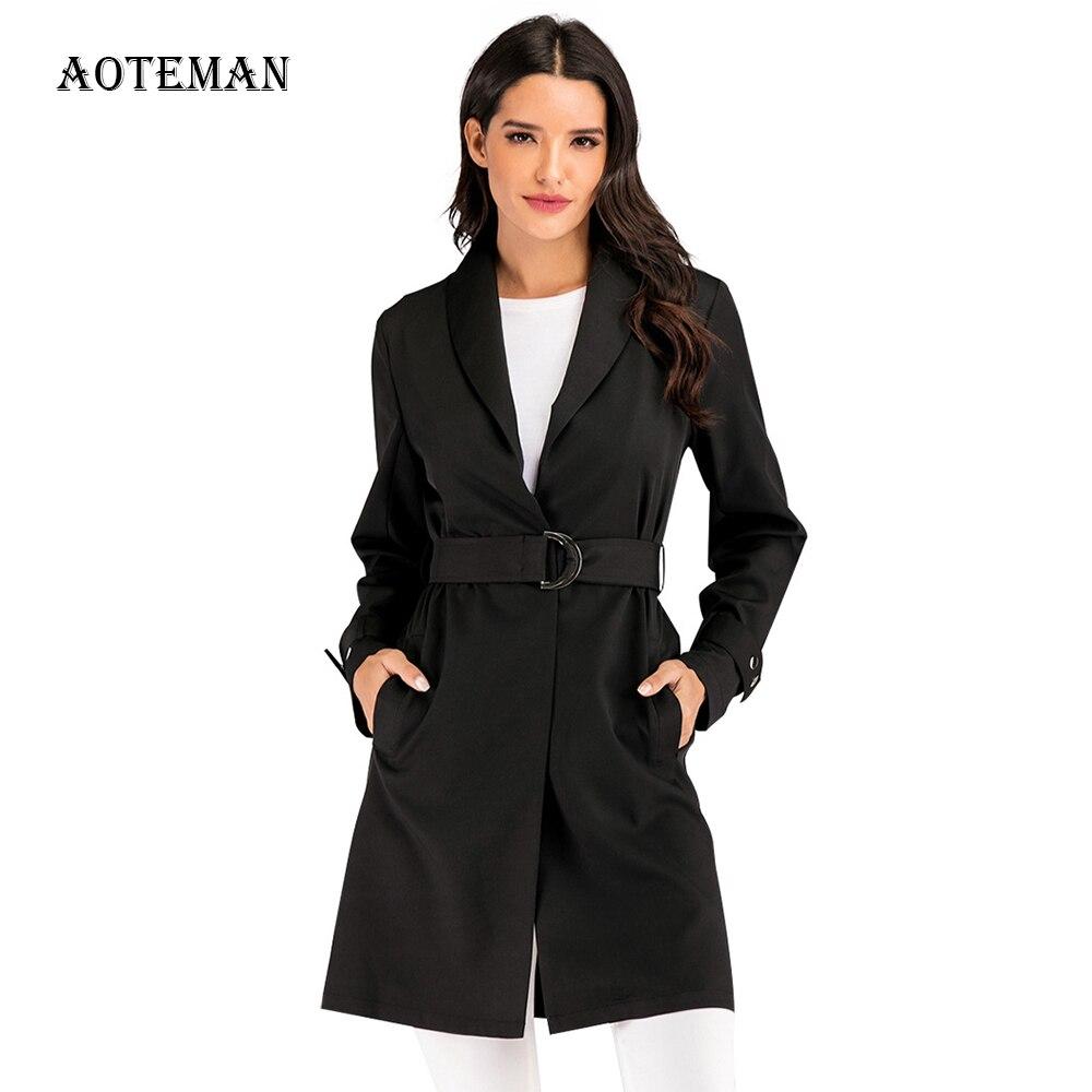 Spring Autumn Coat Women 2020 Casual Oversized Solid Office Blazer Women Long Suit Coat Jacket Women Blazers Female Black Coats
