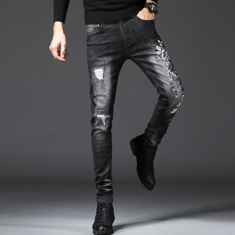 Origional Design New Style European And American Style Applique Men Elasticity Skinny Jeans Embroidered Dragon Slim Fit Fashion