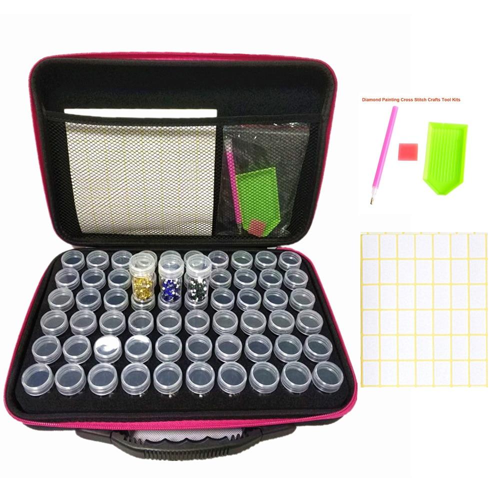 Diamante bordado ferramentas bolsa 60 garrafas recipiente saco 5d pintura diamante acessórios caixa de armazenamento carry caso