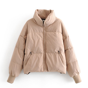 RR Soid Loose Parkas Women Fashion Winter Thick Turtleneck Coats Women Elegant Zipper Cotton Jackets Female Ladies JAE(China)