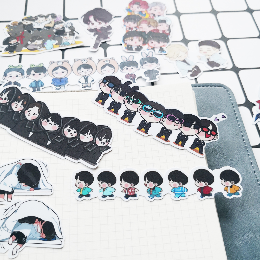 20Pcs/Set BTS Q Version  Expression Album Paper DIY Stickers For Luggage Laptop Skateboard Notebook Phone