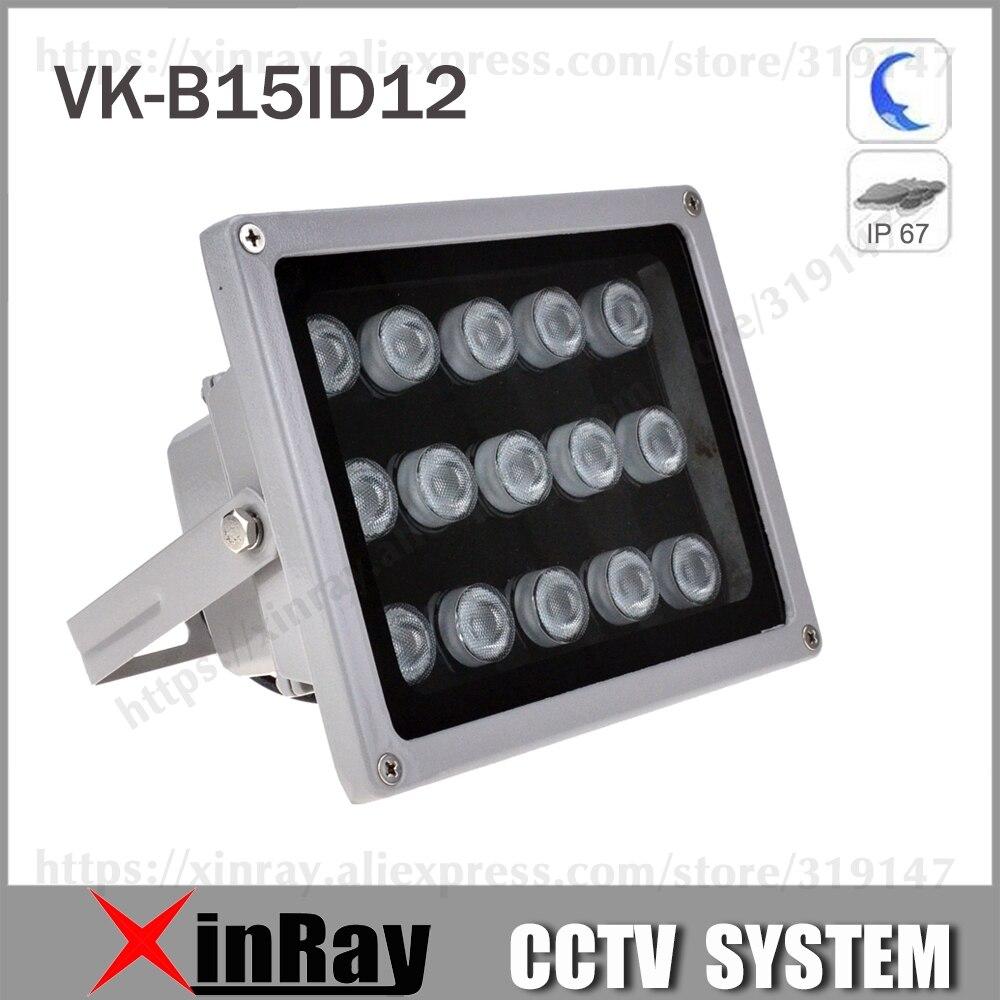 Lampe infrarouge auxiliaire avec 15 LED Vision nocturne IR portée 90M lampe illuminateur en Aluminium pour caméra CCTV.