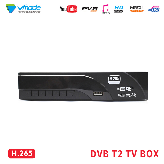 Vmade DVB T2 full HD 1080P Ad Alta Defenition Ricevitore Digitale Terrestre H.265 HEVC MPEG 4 USB 2.0 port supporto Dolby AC3 Youtube