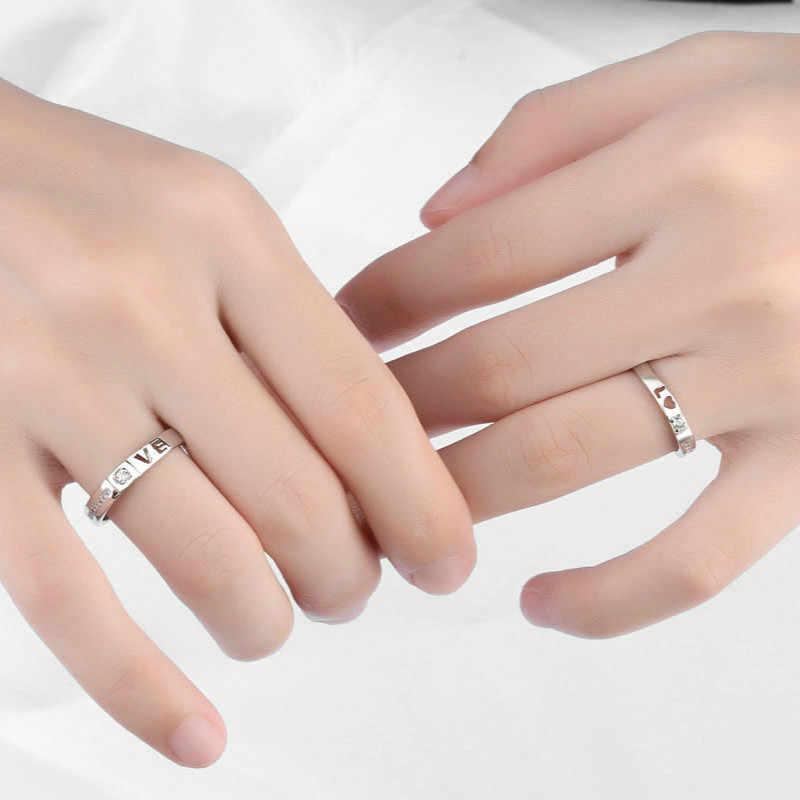 남자와 여자를위한 1pcs 은빛 반지 여자 친구를위한 파티 호의 선물 결혼식 기념품 파티를위한 팔찌 발렌타인 선물