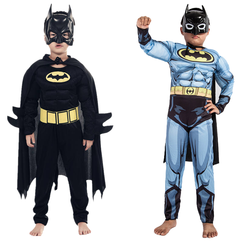 Kids Boys Muscle Batman Costumes With Mask Cloak Movie Character Superhero Cosplay Halloween Masquerade Evening Superman Role Pl