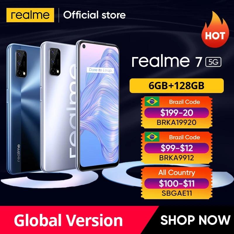realme 7 5G Smartphone Dimensity 800U 6GB 128GB 120Hz Display 48MP Quad Camera 5000mAh Battery Global Version 30W Dart Charger