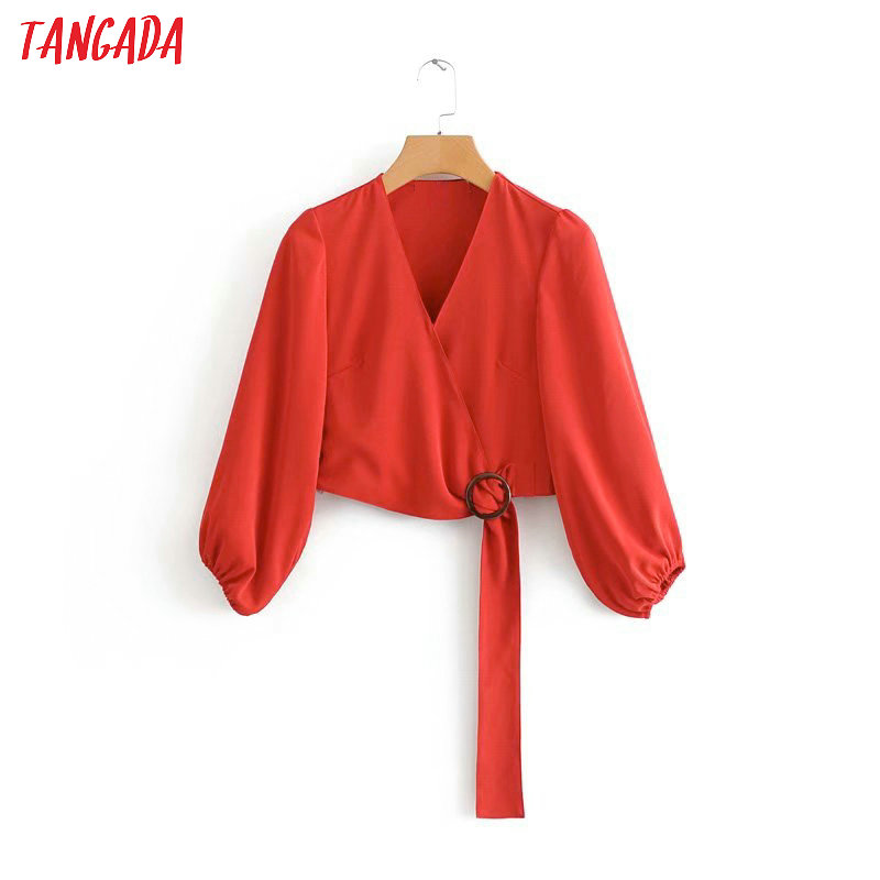 Tangada Women Retro Solid Blouse Bow V Neck Long Sleeve Chic Female Casual Crop Shirt Blusas Femininas 3D02