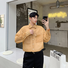 2019 Autumn Japan Style With Many Bags Tie Silk Decoration Stripe Easy Man Long Sleeve mens Shirt Thin Striped Blue Yellow