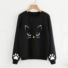 Newly Design Women Girls Cute Cat Paw Print Pullover Sweatshirt Autmn Winter Spring Round Neck Woman Blouse Shirt(China)