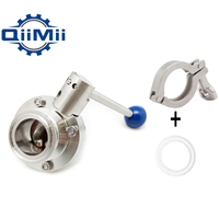 Economy 1 1/2 38mm SS304 Stainless Steel Sanitary 1.5 Tri Clamp Butterfly Valve Homebrew Beer Dairy