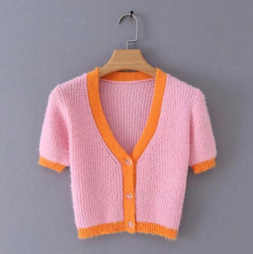 Pink cardigan womens sweaters korean crop sweater yellow autumn tops short sleeve v neck short cardigan mohair sweater fall 19 3