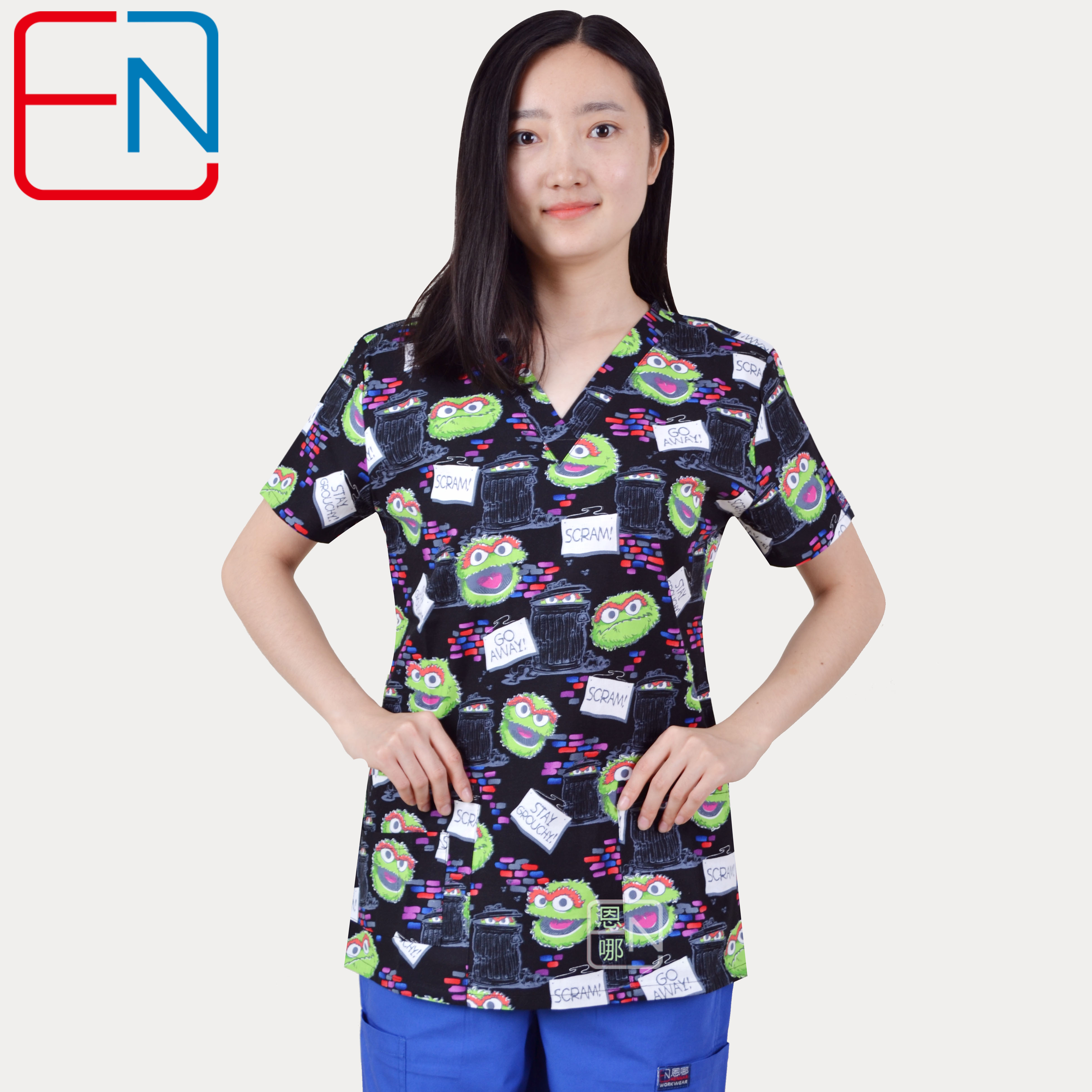 Hennar Medical Uniforms Women Scrub Top V-Neck Black Print 100% Cotton Hospital Clinical Surgical Scrubs Top For Women XXS-XXXL