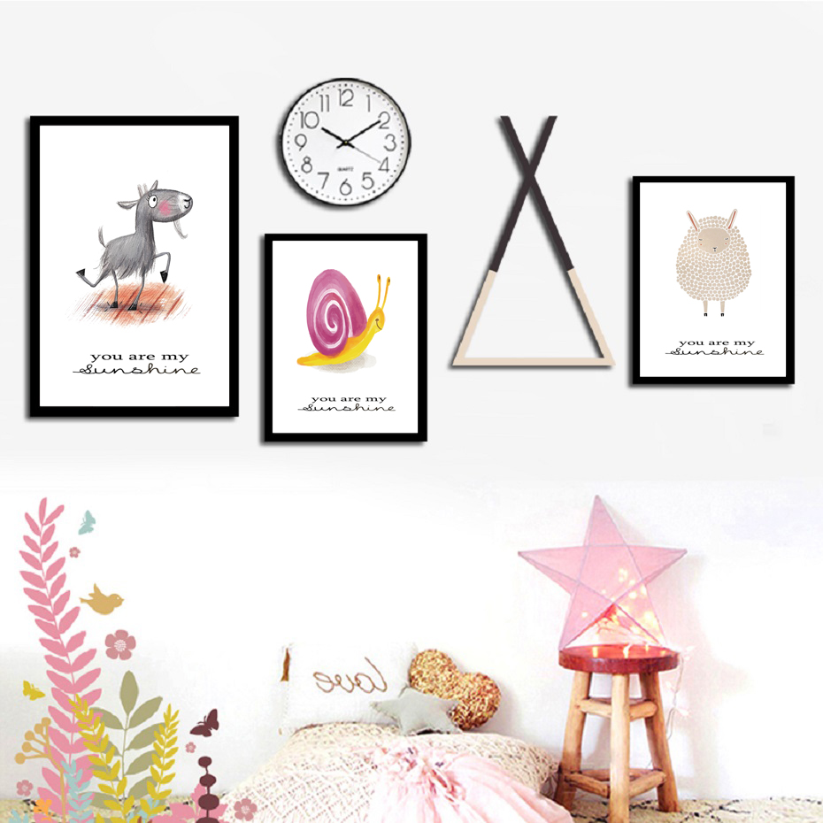 Nordic Lovely Cartoon Animals Snail Bee Sheep Posters And Prints Nursery Wall Art Canvas Paintings Pictures Kids Room Home Decor
