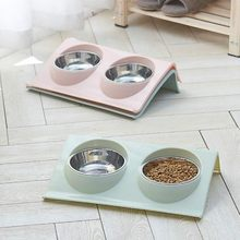 Double Dog Bowl Pet Feeding Station Stainless Steel Water Food Bowls Feeder Solution for Dogs Cats supplies New Year Christmas(China)