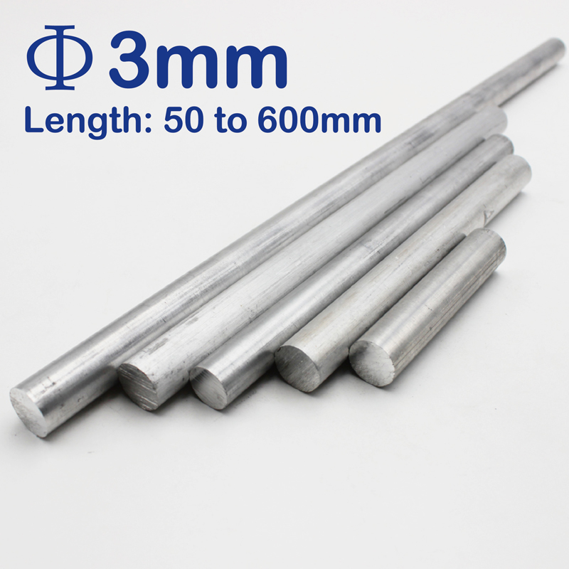 3mm Diameter Aluminum Round Bar/Rod Length 100mm To 600mm
