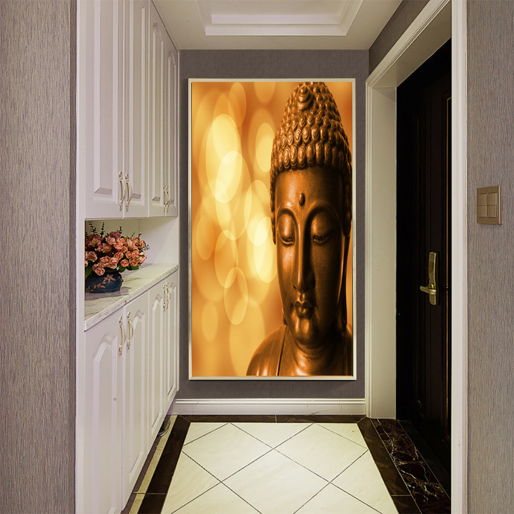 1 Panel Adhesive Abstract Unframe Picture Wall Picture Art Painting Buddha Home Decor Gift