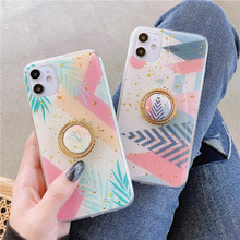 Ring Stand Plating Gold leaf Green geometric Leaves Case For iphone 11 Pro Max XR XS 6 6s 7 8 Plus Back Cover Phone Coque