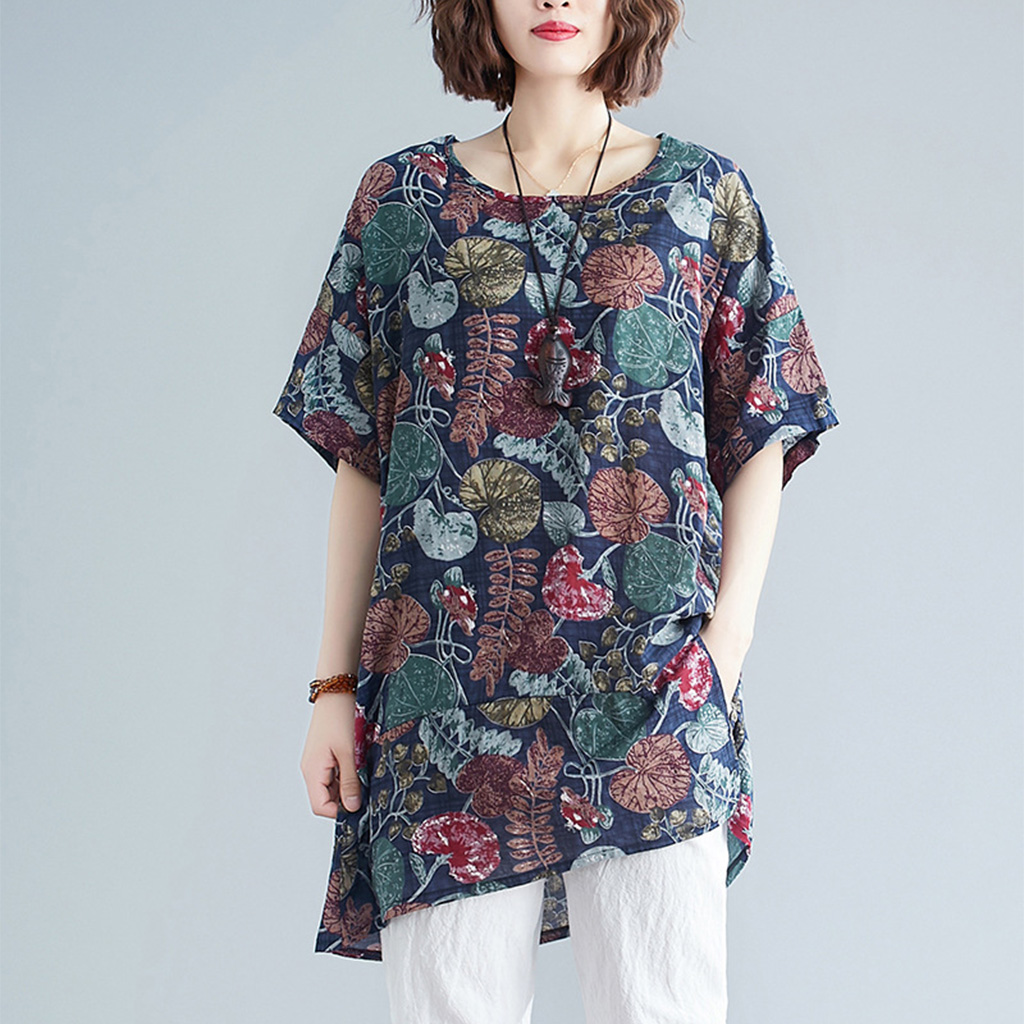 Supermiss Women Summer T Shirt  Loose Printed Short Sleeve Tunic Tops Plus Size New 2020 Tee Shirts