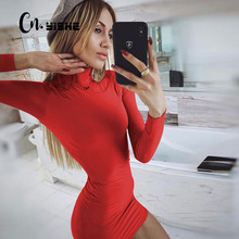 CNYISHE Sexy Bodycon Dress Women Winter 2019 High Neck Long Sleeve Sheath Dresses Black Red Party Pencil Dress Female Vestidos