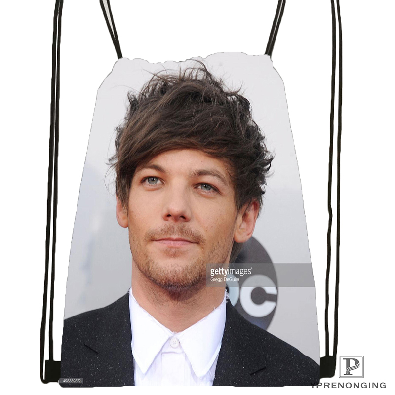 Custom Louis Tomlinson Drawstring Backpack Bag Cute Daypack Kids Satchel (Black Back) 31x40cm#180531-03-09