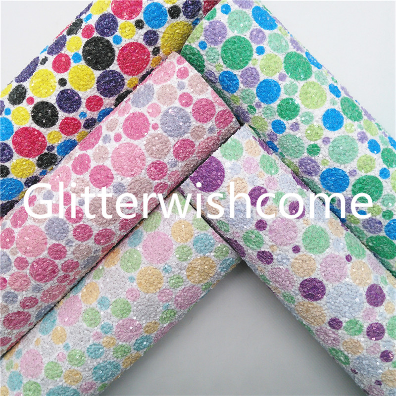 Glitterwishcome 21X29CM A4 Size Polka Dots Printed Chunky Glitter Leather, Faux Leather fabric Vinyl for Bows, GM820A|Synthetic Leather|   - AliExpress