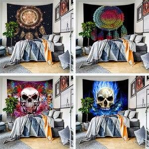 Новейший стиль, гобелен с черепом, настенный, меняющий фазу, гобелены, покрывало для декора спальни, покрывало для декора, Настенный декор, ...