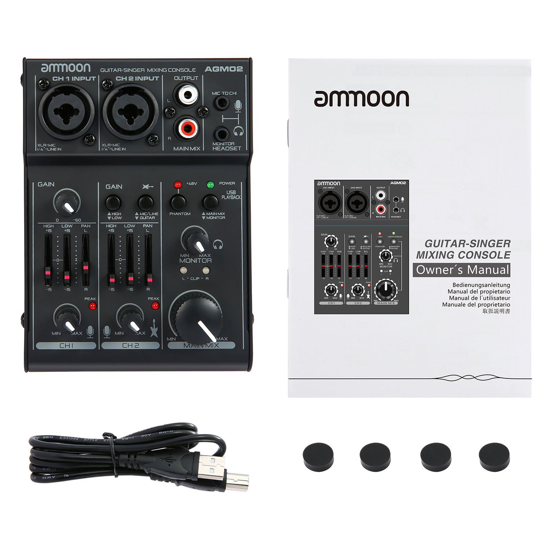 Ammoon AGM02 Mini Console de mixage de carte son 2 canaux table de mixage Audio numérique EQ 2 bandes alimentation fantôme 48V intégrée pour diffusion