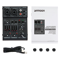 ammoon AGM02 Mini 2 Channel Sound Card Mixing Console Digital Audio Mixer 2 band EQ Built in 48V Phantom Power for Broadcast