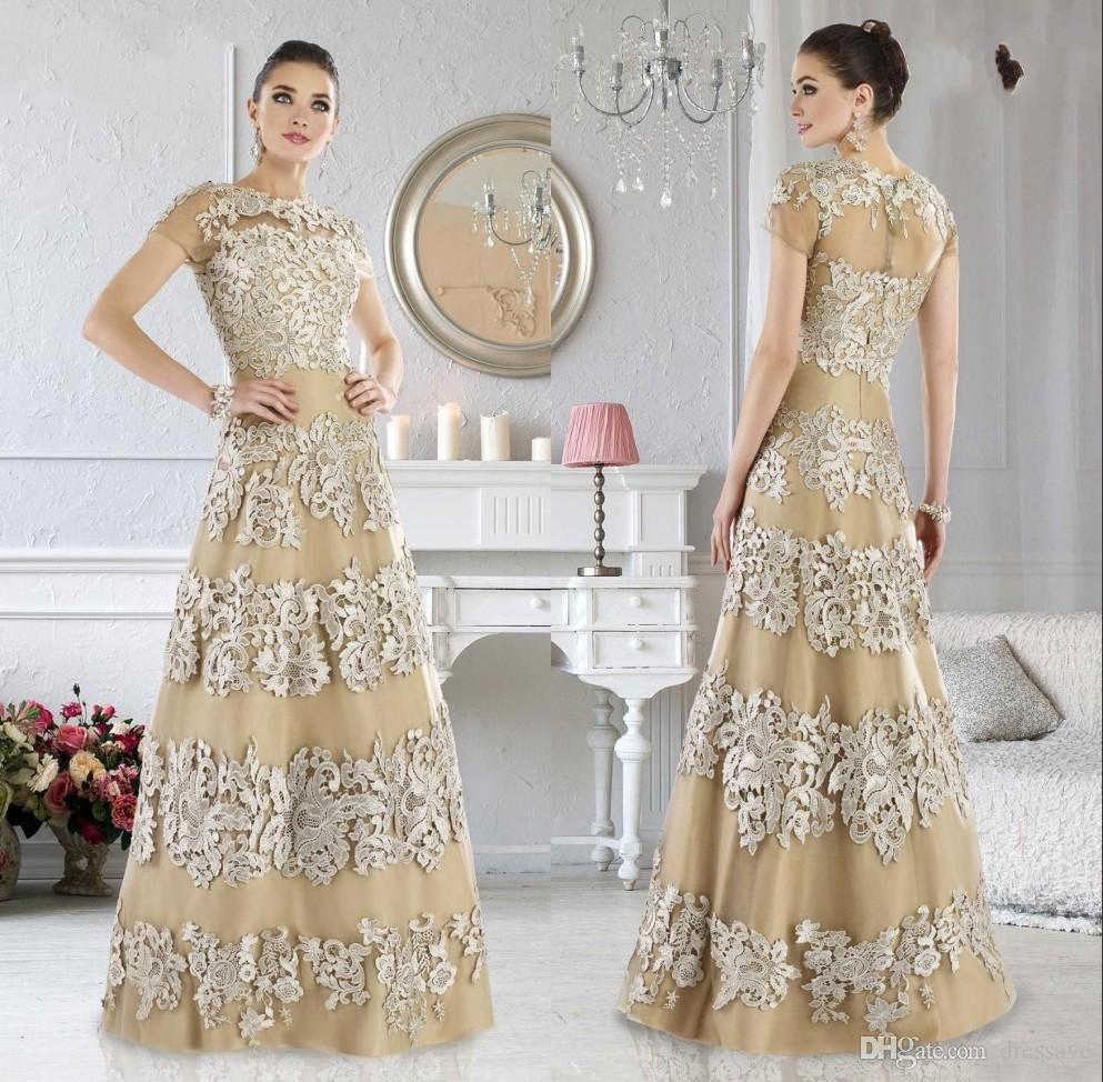 Vintage Champagne Appliques Lace Mother Of The Bride Groom Dresses Short Sleeves Satin Women Formal Evening Party Gowns
