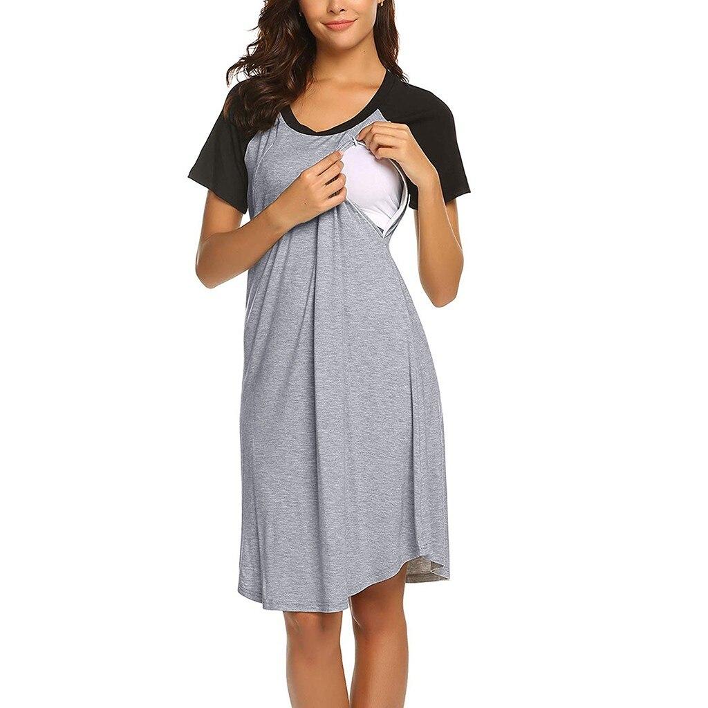 Vestido De Mujer Women Maternity Dress Nursing Baby Nightgown Breastfeeding Nightshirt Sleepwear Maternity