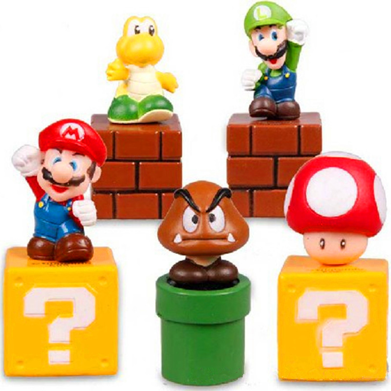 5 PCS Super Mario Bros Luigi Goomba Action Figure Doll Toy Cake Topper Kids Gift