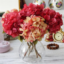 1PC Hydrangea Artificial Fabric Silk Flower Wedding Home DIY Decoration Fake Bouquet 8 colors silk flowers for crafting