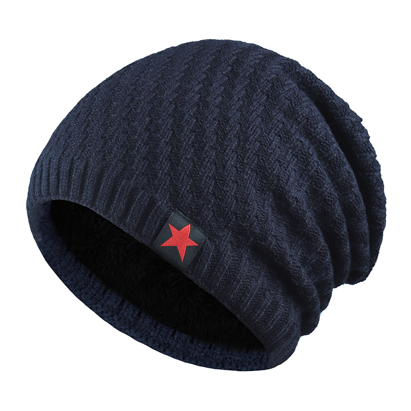 New Winter Hat Men Solid Color Knitting Wool Beanies Autumn Winter Warm Comfortable Hat Outdoor Accessories Thick Cotton Hats