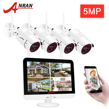 ANRAN 5MP H.265+ Ultra HD Video Security System 2/4CH Waterproof Outdoor Wireless IP Cameras Plug & Play NVR Kit Night Vision