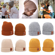 9色s/lベビー帽子暖かいベビー冬の帽子キッズビーニーニット子供帽子のためのガールズボーイズベビーキャップ新生児帽子1pc